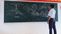 Tròn mắt với những bức tranh do thầy giáo vẽ nên bằng phấn