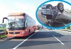 Xe khách đâm lật xe 4 chỗ trên cao tốc, 3 người hoảng loạn cầu cứu