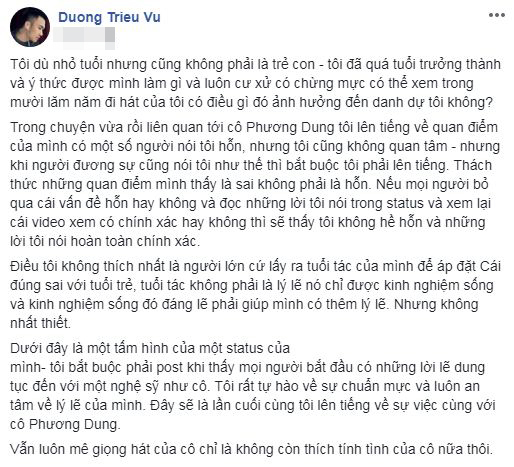 Mr. Đàm bênh Dương Triệu Vũ, phản pháo danh ca Phương Dung