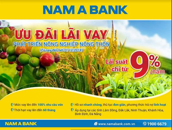 Nam A Bank ưu đãi lãi vay khu vực miền Trung, Tây Nguyên