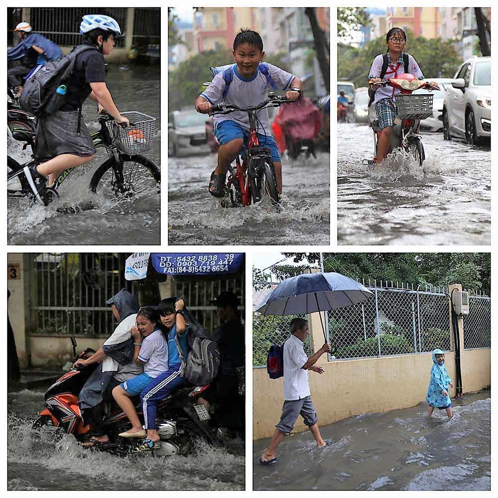 Khách Tây rùng mình lội nước thối ở khu nhà giàu Sài Gòn
