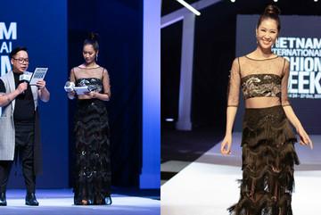 Dương Thuỳ Linh mặc váy xuyên thấu làm MC Tuần lễ thời trang