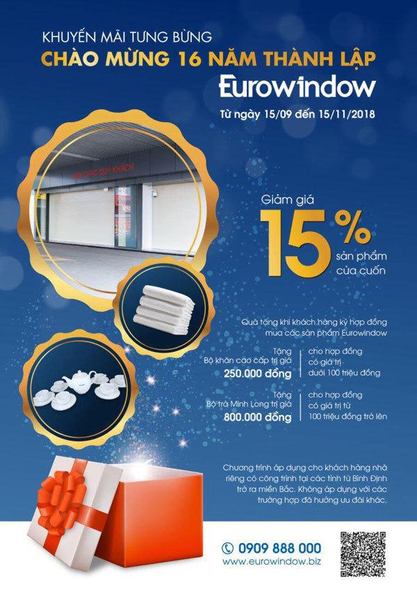 Mừng sinh nhật, Eurowindow ưu đãi cửa cuốn 15%