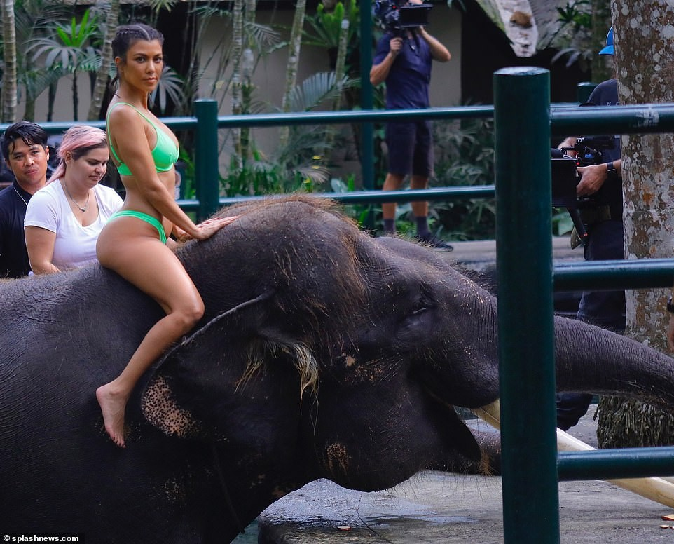Kim Kardashian bị chê trách khi diện bikini cưỡi voi