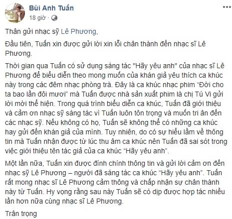 Bùi Anh Tuấn bị nhạc sĩ Lê Phương phản ứng vì hát nhạc không xin phép