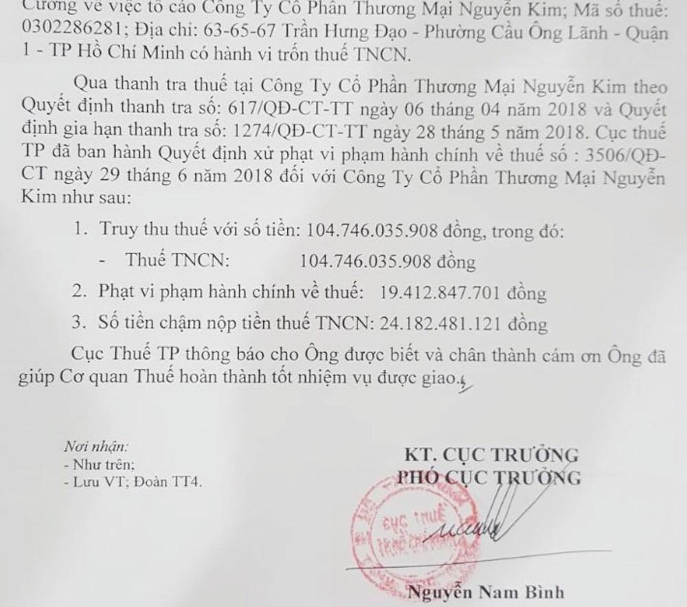 Giúp Cục thuế truy thu 148 tỷ của Nguyễn Kim, một cá nhân được thưởng 3 triệu