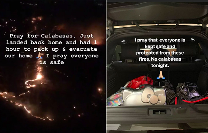 Kim Kardashian ôm đồ sơ tán giữa đêm vì cháy rừng