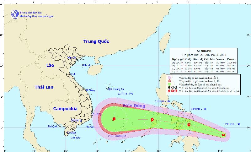 Dự báo thời tiết 20/11: Áp thấp thành bão gần Biển Đông, liên tục tăng cấp