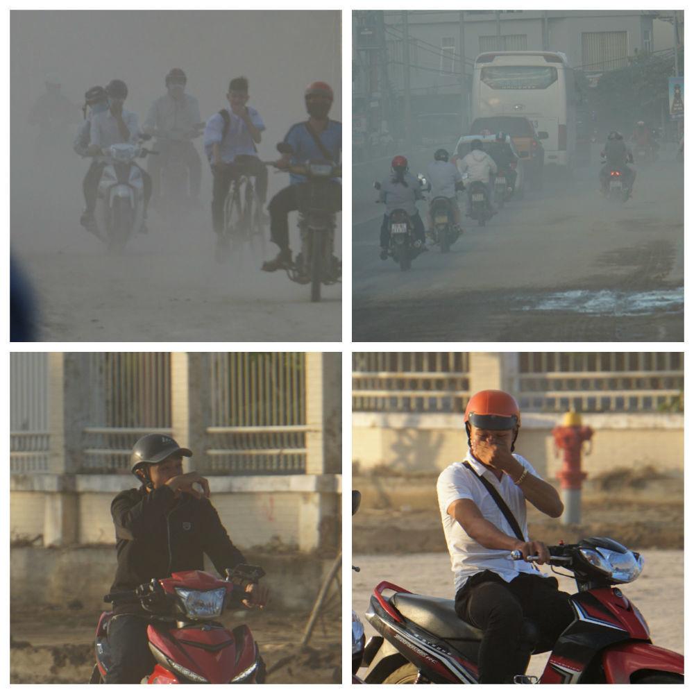 Người dân, du khách 'tắm' bụi trên đường cửa ngõ TP Nha Trang