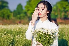 Thiếu nữ Hà thành rạng rỡ trong vườn cúc hoạ mi