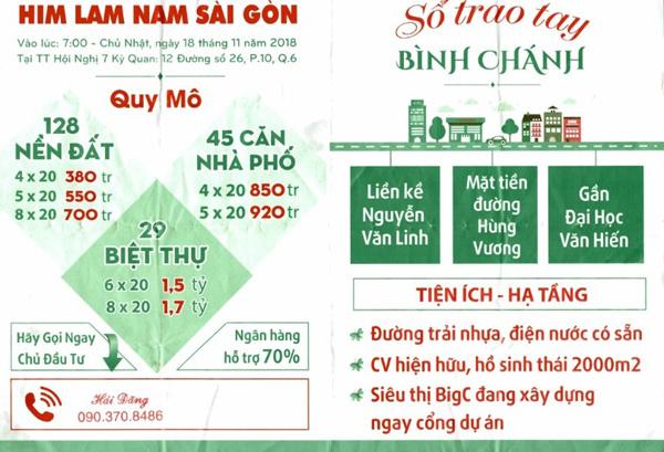 """mạo danh Him Lam,""""Him Lam Bình Chánh"""",""""Him Lam Nam Sài Gòn"""",mở bán,đặt tên"""