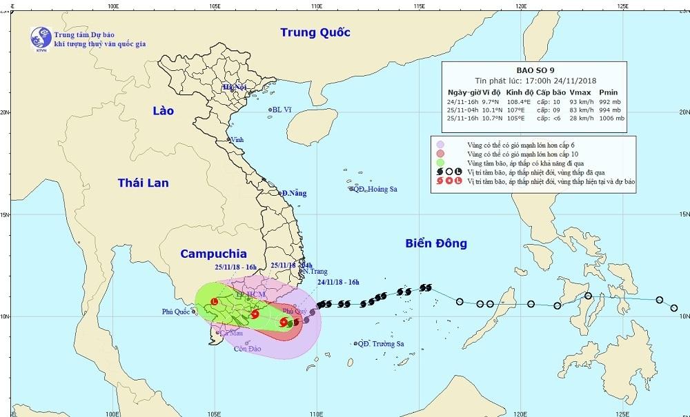Bão số 9 tiến sát bờ, Sài Gòn sẽ mưa xuyên đêm gây ngập nặng