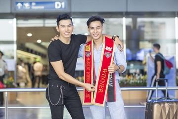 Ngọc Tình tháp tùng siêu mẫu Mai Tuấn Anh lên đường dự thi Manhunt 2018
