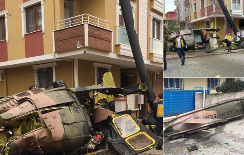 Trực thăng quân sự Thổ Nhĩ Kỳ rơi xuống khu dân cư