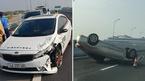 Gây tai nạn rồi bỏ chạy, ô tô 4 chỗ húc xe khác 'phơi bụng' trên cao tốc