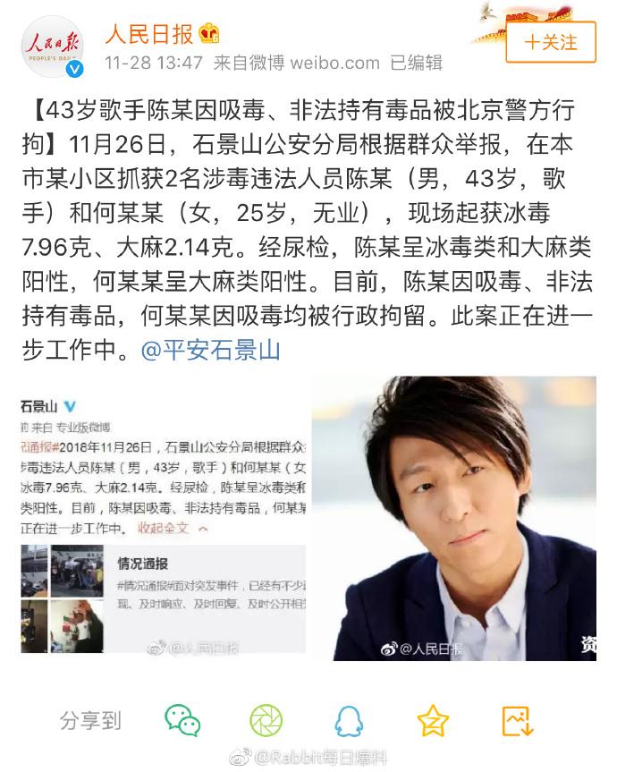 Nam ca sĩ Trung Quốc bị bắt giữ vì sử dụng ma túy
