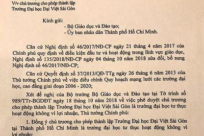 Chính phủ đồng ý chủ trương cho phép lập Trường ĐH Đại Việt Sài Gòn