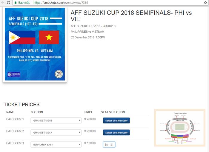 Vé bán kết lượt đi Việt Nam vs Philippines: Mua online dễ như đi dạo