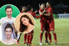 Đám cưới Thanh Tú mở tivi, sao Việt reo hò khi Việt Nam đánh bại Philippines