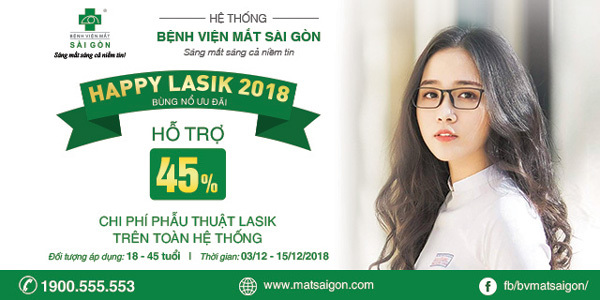 Happy Lasik: Hỗ trợ đến 45% phí phẫu thuật tật khúc xạ