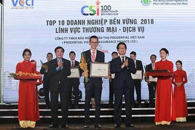 Prudential vào Top 10 doanh nghiệp bền vững 2018