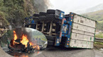 Lai Châu: Xe container đâm vách núi, cháy ngùn ngụt