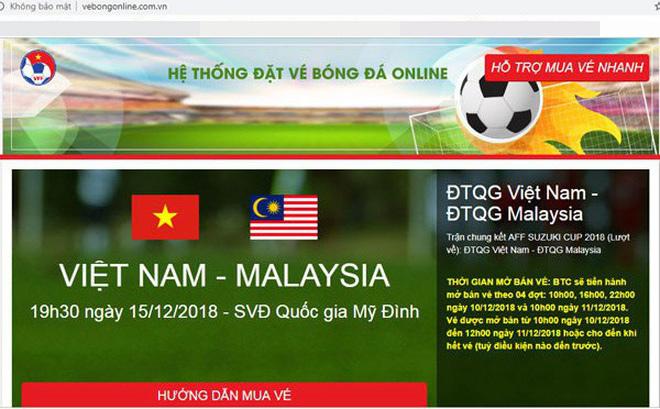 VNNIC thông báo về Website giả mạo bán vé bóng đá online chung kết AFF
