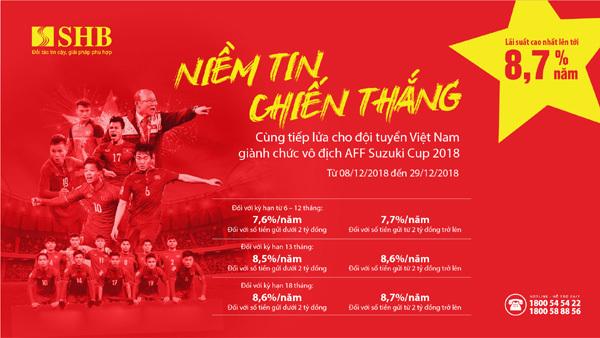 SHB tăng lãi suất đến 8,7% mừng chiến thắng VN tại AFF Cup