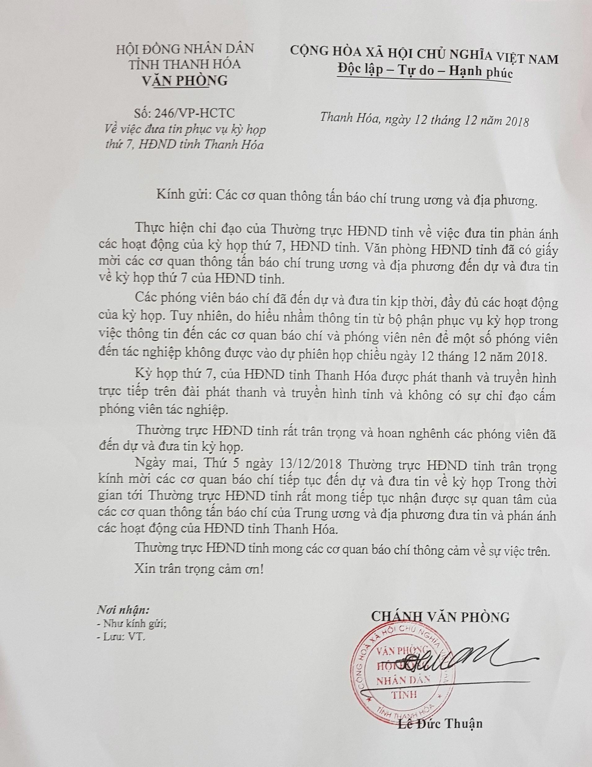 Thanh Hóa đột ngột 'cấm cửa' PV lúc công bố tín nhiệm: Do 'hiểu nhầm'