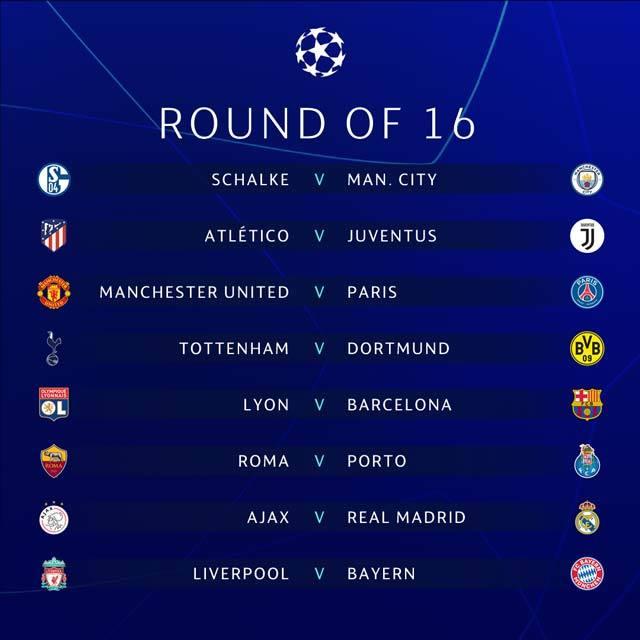 Lịch thi đấu vòng 1/8 Champions League 2018/19