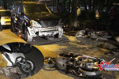 Nữ tài xế Lexus đâm 9 xe nằm la liệt ven hồ Tây, 6 người nhập viện