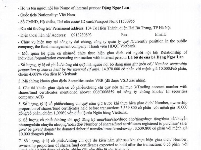 tin chứng khoán,chứng khoán,VN-Index,thị trường chứng khoán,Bầu Kiên,Nguyễn Đức Kiên,Đặng Ngọc Lan,cổ phiếu ngân hàng,VietBank