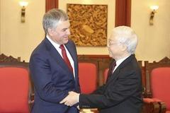 Tổng bí thư, Chủ tịch nước tiếp thân mật Chủ tịch Duma Quốc gia Nga