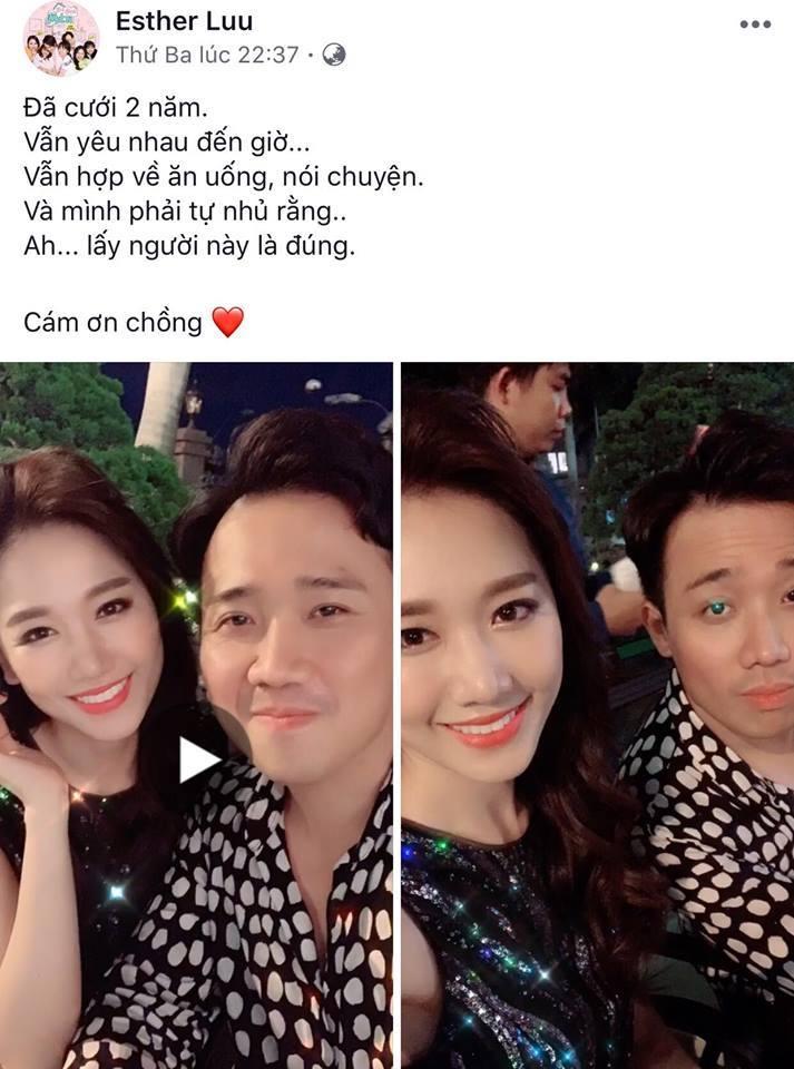 Hari Won cảm ơn Trấn Thành dịp kỷ niệm 2 năm ngày cưới.