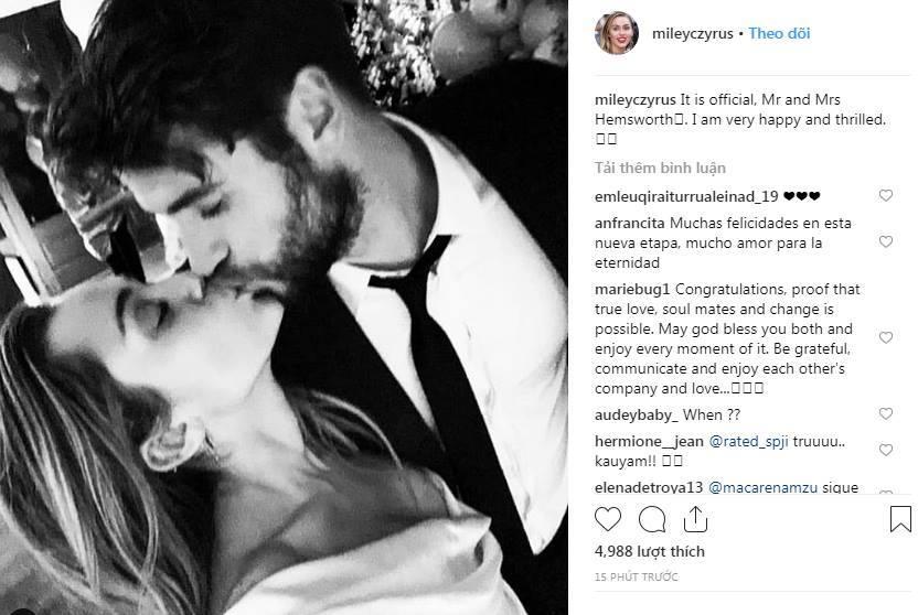 Miley Cyrus đăng ảnh cưới Liam Hemsworth, xác nhận kết hôn