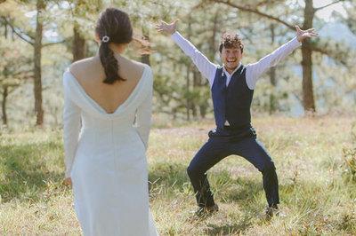 Ảnh cưới hài hước của Đinh Tiến Đạt với vợ kém 10 tuổi