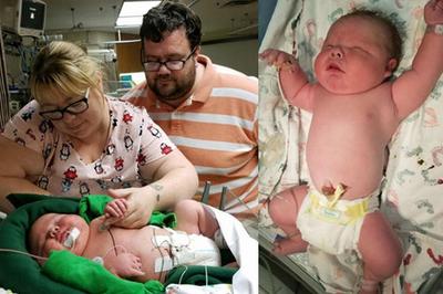 Bé trai chào đời nặng gần 7kg khiến bác sĩ tròn mắt