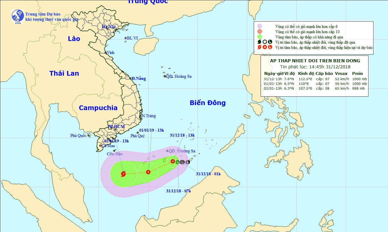 Áp thấp nhiệt đới giật cấp 10 hướng vào vùng biển Tây Nam trong năm mới