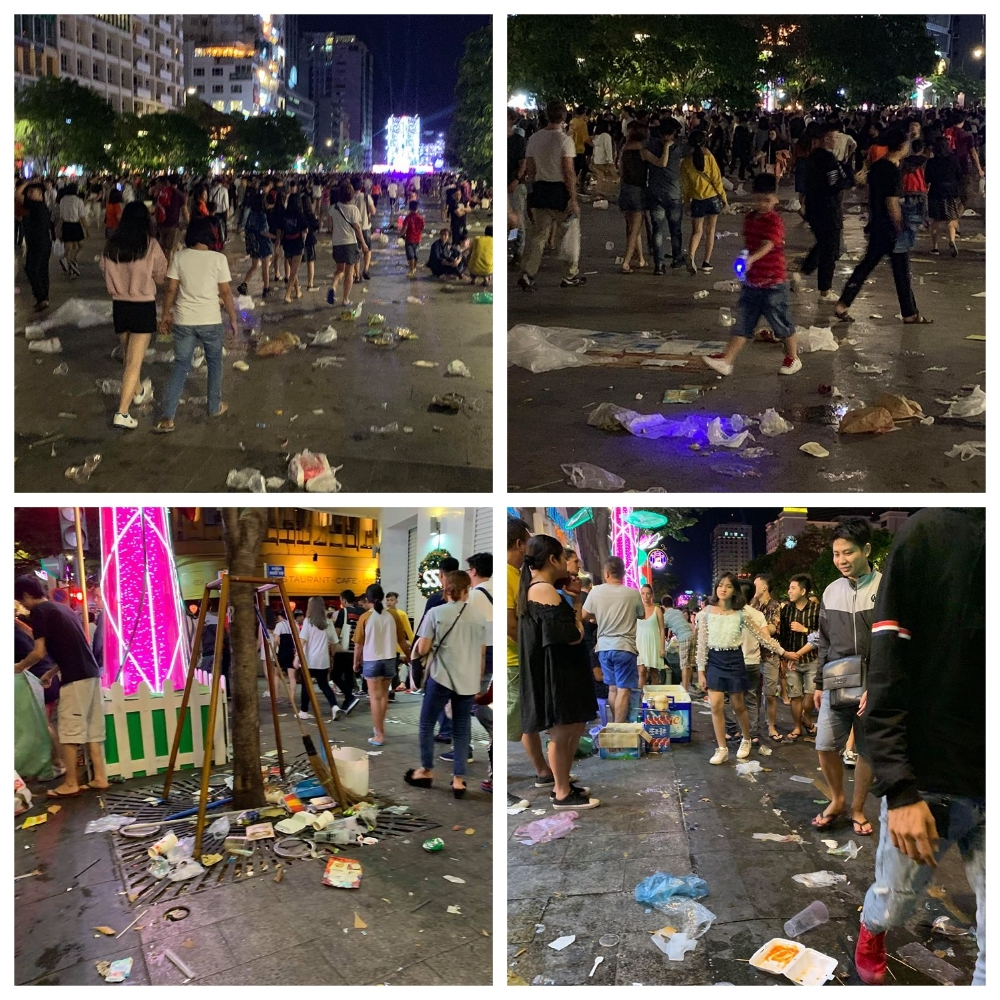 Rác ngập phố đi bộ Nguyễn Huệ sau màn bắn pháo hoa chào năm mới 2019