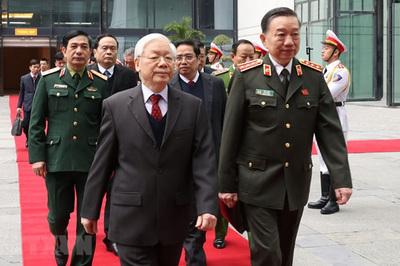 Hình ảnh Tổng bí thư, Chủ tịch nước dự hội nghị Công an toàn quốc