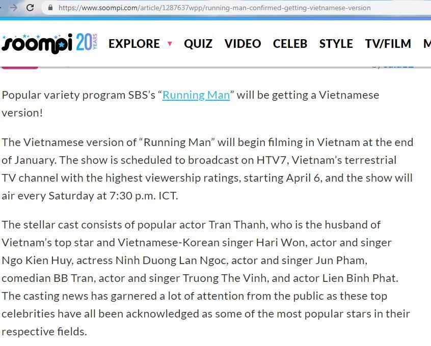 Báo Hàn đưa tin dàn nghệ sĩ tham gia Running Man bản Việt