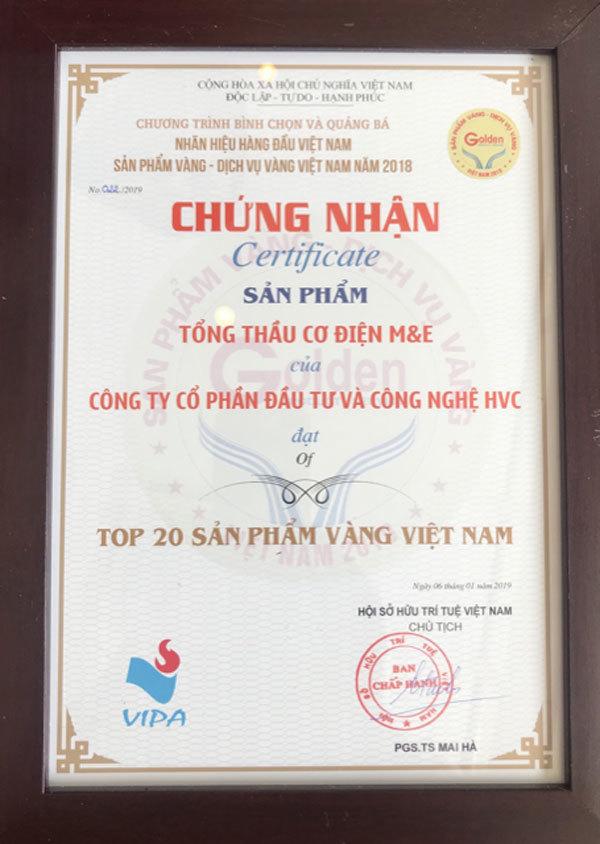 HVC Group nhận giải Top 20 sản phẩm vàng Việt Nam 2018