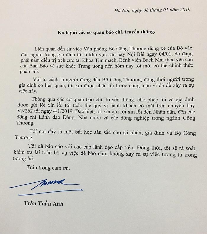 Bộ trưởng Trần Tuấn Anh gửi thư xin lỗi tới toàn thể nhân dân