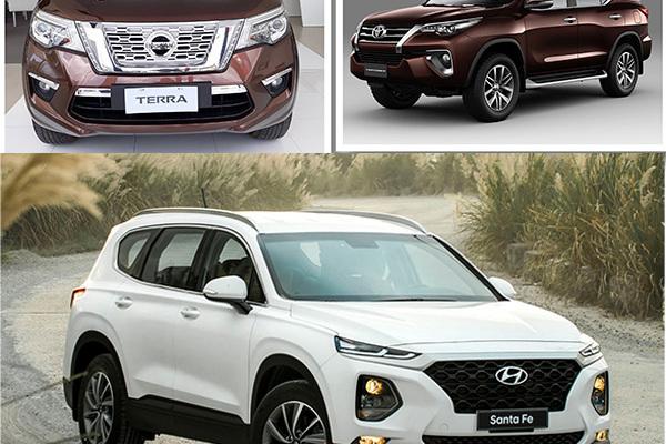 Giá 1,2 tỷ: Soi độ cạnh tranh Hyundai Santa Fe, Nissan Terra, Toyota Fortuner