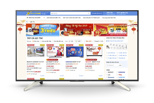 Thương mại điện tử khuấy động thị trường tivi mùa Tết