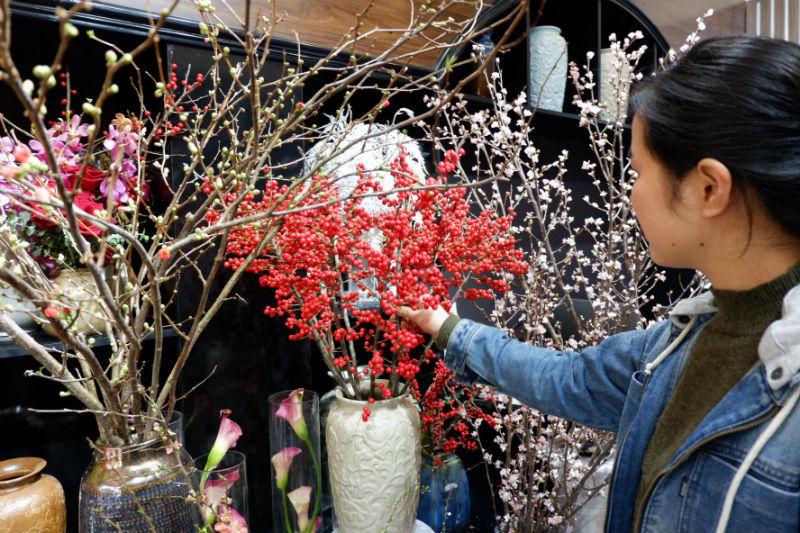 đào đông đỏ,mai mỹ,hoa nhập khẩu,hoa tết,Tết Nguyên đán