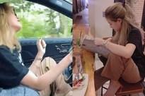 Hoàng Thùy Linh vô tư gác chân, thả tay khỏi vô lăng khi lái xe