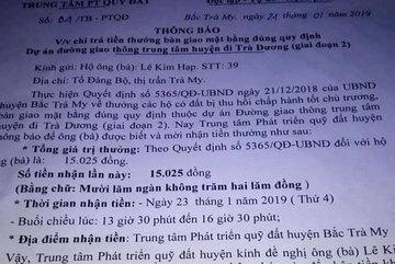 Xôn xao đất Quảng: 1 hộ dân được 'thưởng'... 15.000 đồng!