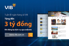 VIB dành 300 triệu đồng tặng khách hàng khi trải nghiệm website.