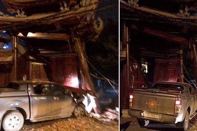 Hà Nội: Tài xế say rượu tông sập cổng chùa ở Hà Đông